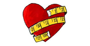 Tape measure wrapped around a heart