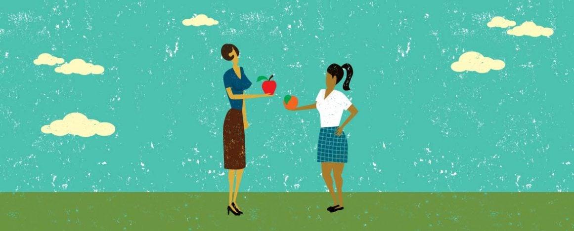 Teacher holding an apple, Pacifica girl holding an orange