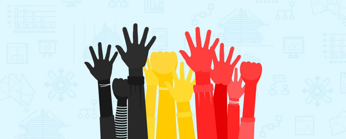 Hands reaching up - colours of Aboriginal flag, background representing data