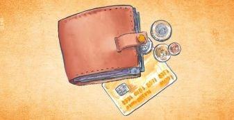 Illustration of wallet, credit card & coins