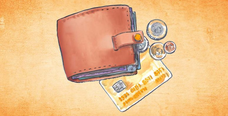 Illustration of wallet, credit card & coins
