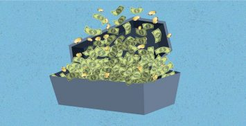 Coffin filled with money