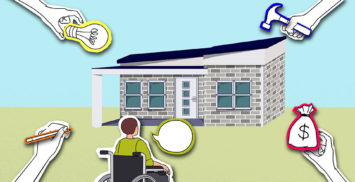 shows the tenant has the say about disability housing with contributions of money & building & ideas from others
