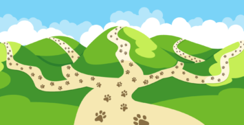 paw tracks on pathways heading over the hills symbolising the Backtrack way reaching far and wide