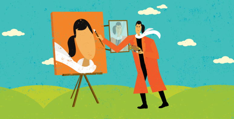 woman painting self portrait with no expression