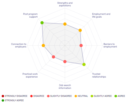 Screenshot from the Review platform helping providers understand their performance against the 10 features of successful youth employment programs.
