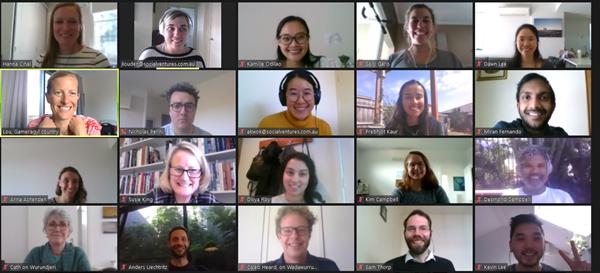 Screenshot of 20 SVA consulting team members during a digital team meeting