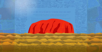 Uluru with backlay of the Uluru Statement artowrk