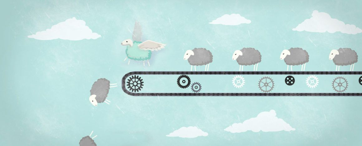 Sheep with wings flying off a conveyor