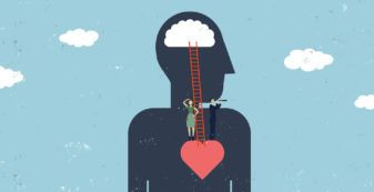 two people looking out from heart with ladder to brain